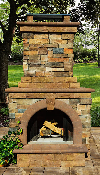 Fully-Assembled Stone Veneer Outdoor Fireplace